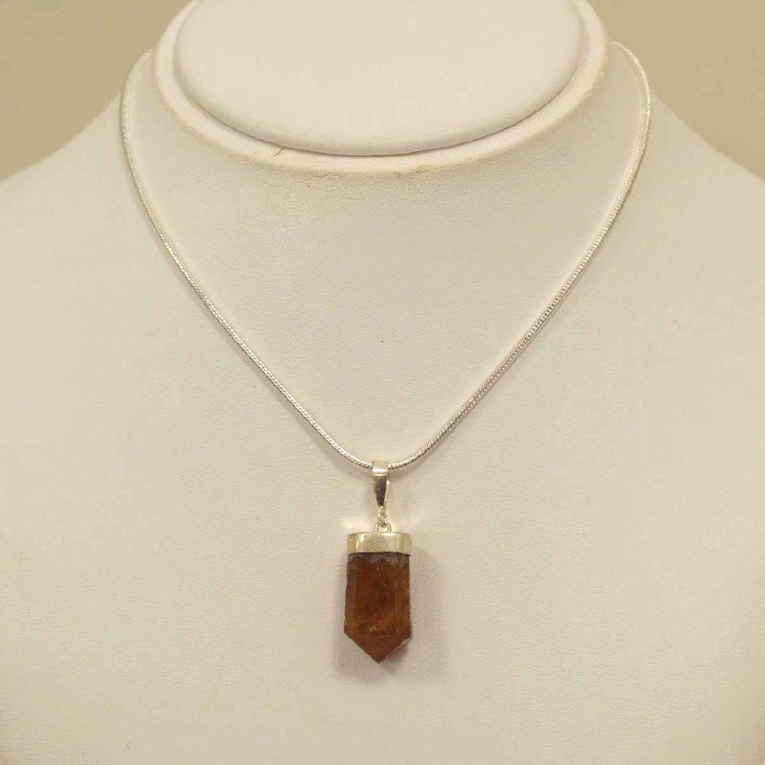 Sterling Silver Garnet Crystal Pendant
