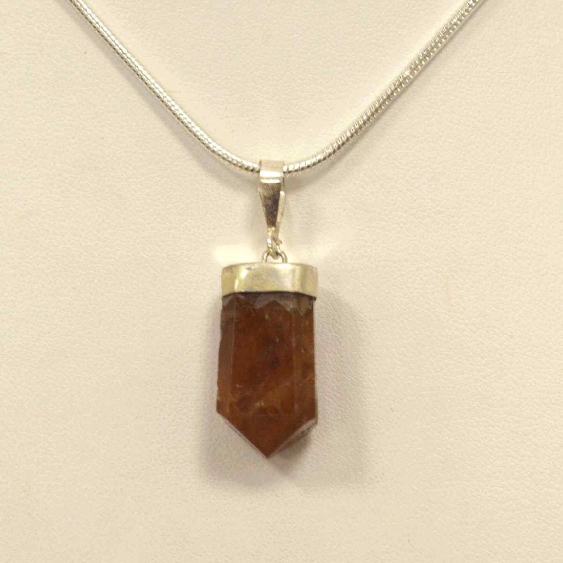 Sterling Silver Garnet Crystal Pendant - 2