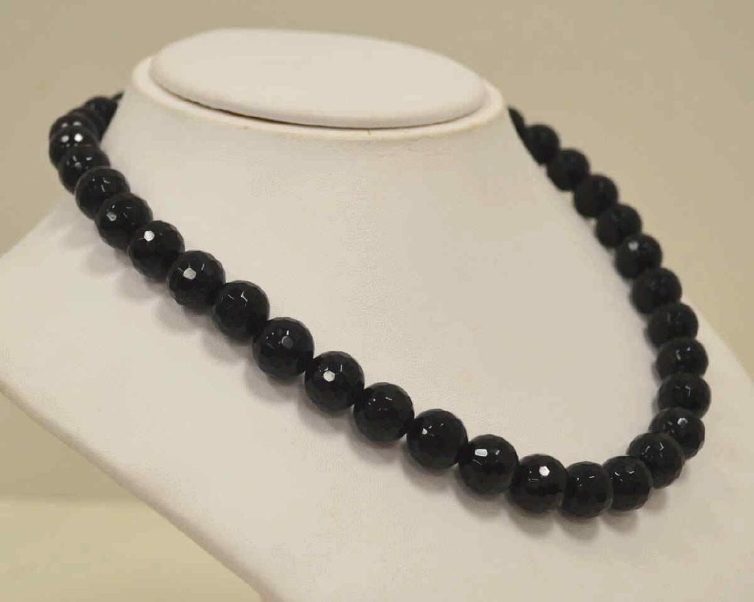 """18"""" Onyx Bead Necklace - 3"""