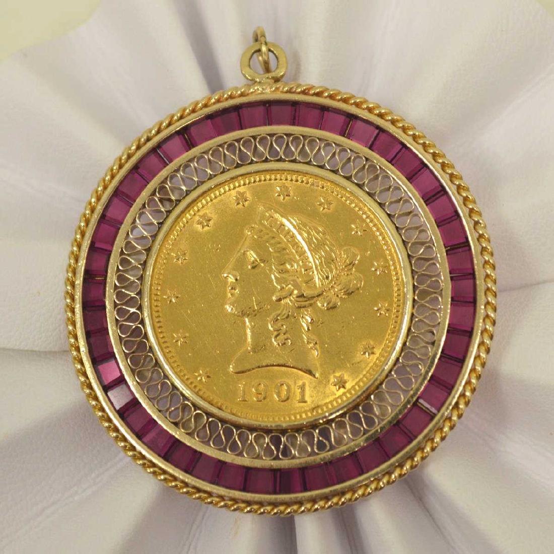 14kt yellow gold $10 Gold Liberty pendant