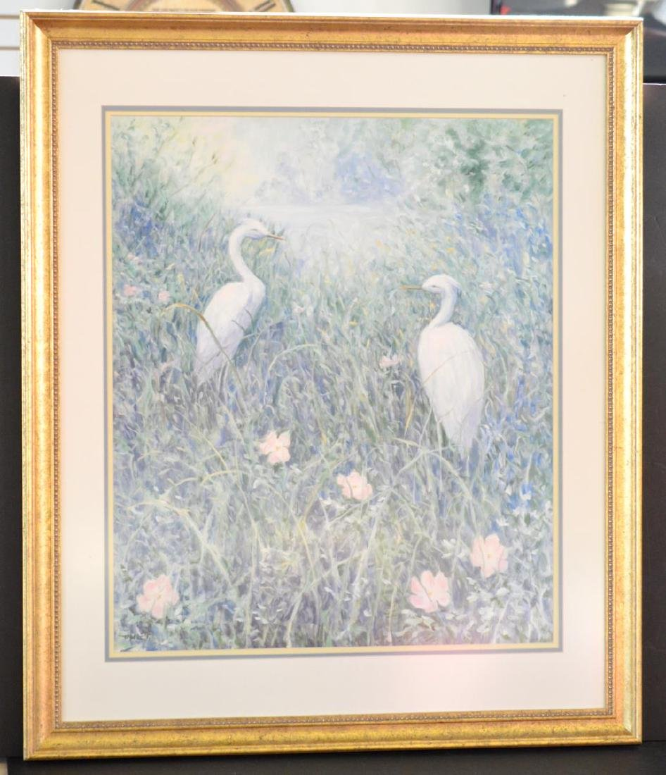 """Signed """"White Egrets"""" Litho by Ruth Mueller Taylor"""