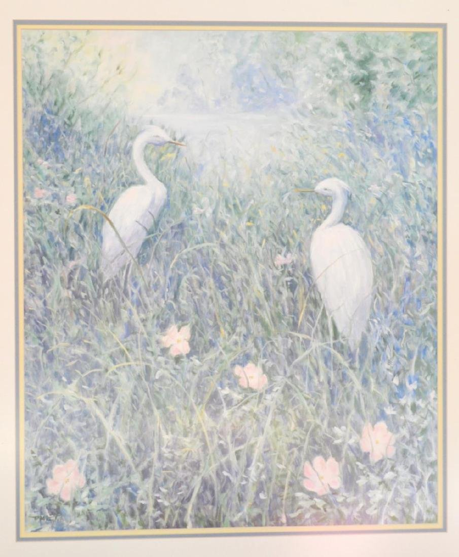 "Signed ""White Egrets"" Litho by Ruth Mueller Taylor - 2"