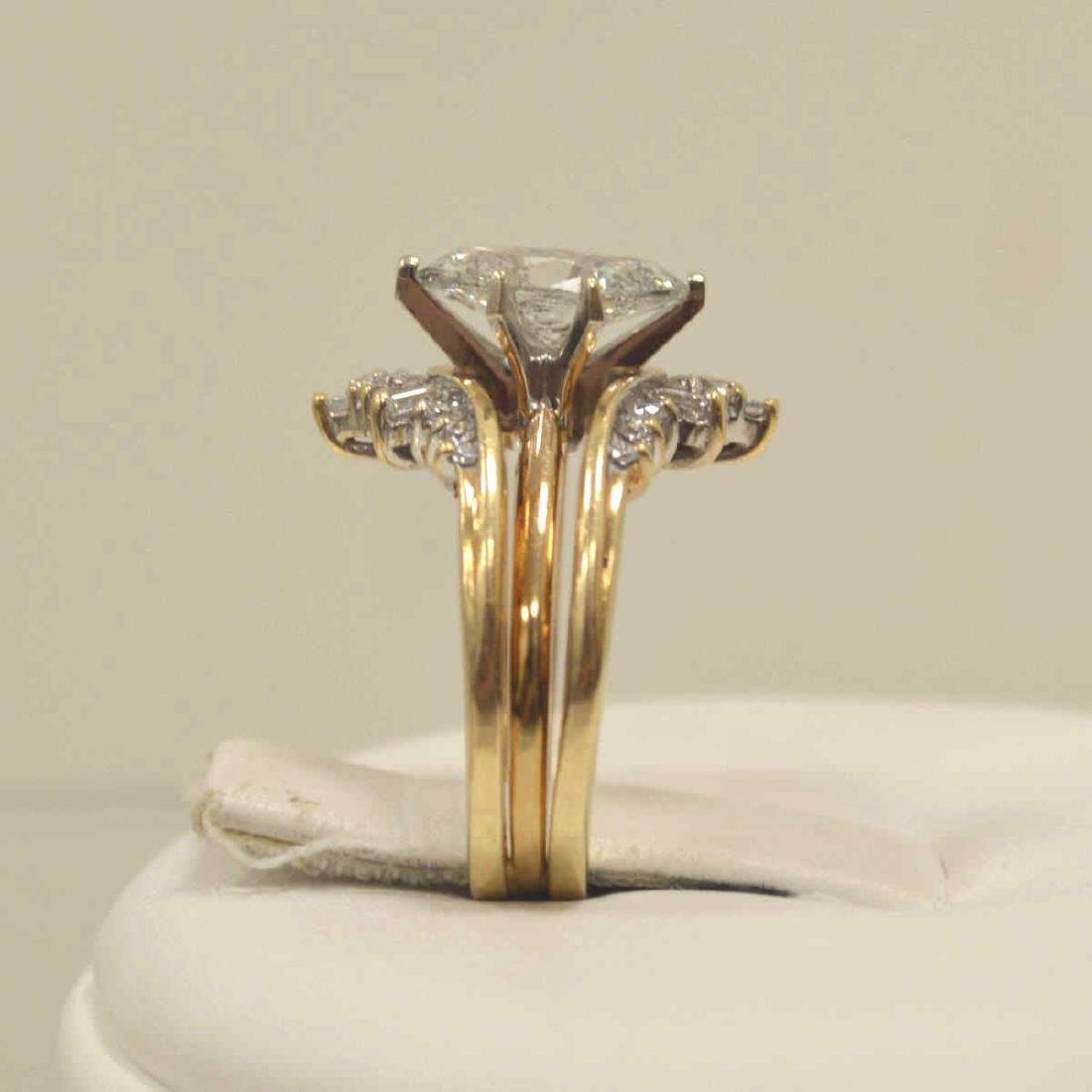 14kt yellow gold marquise diamond wedding set - 4