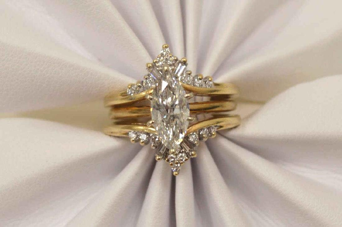 14kt yellow gold marquise diamond wedding set - 5