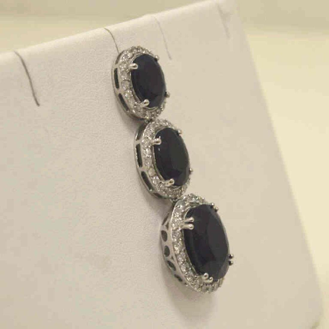14kt white gold sapphire and diamond earrings - 2