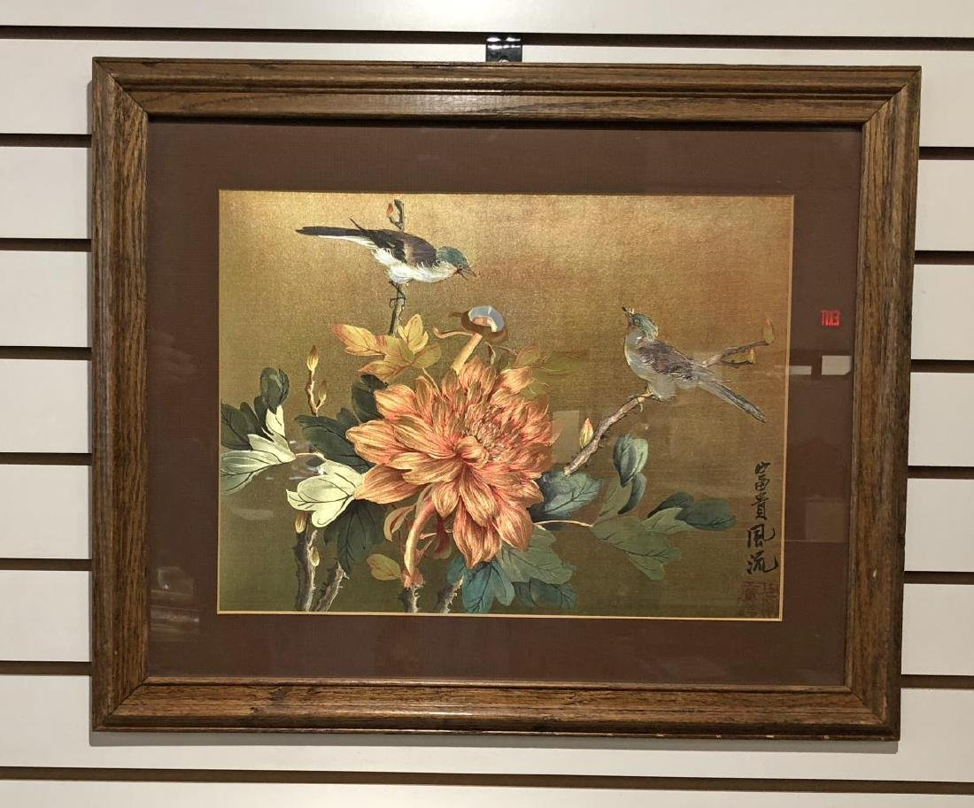 Framed Chinese Silk Painting Birds & Floral Signed