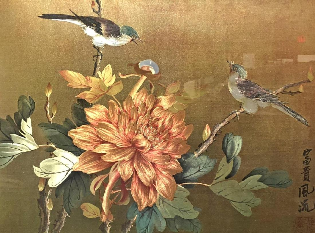 Framed Chinese Silk Painting Birds & Floral Signed - 2