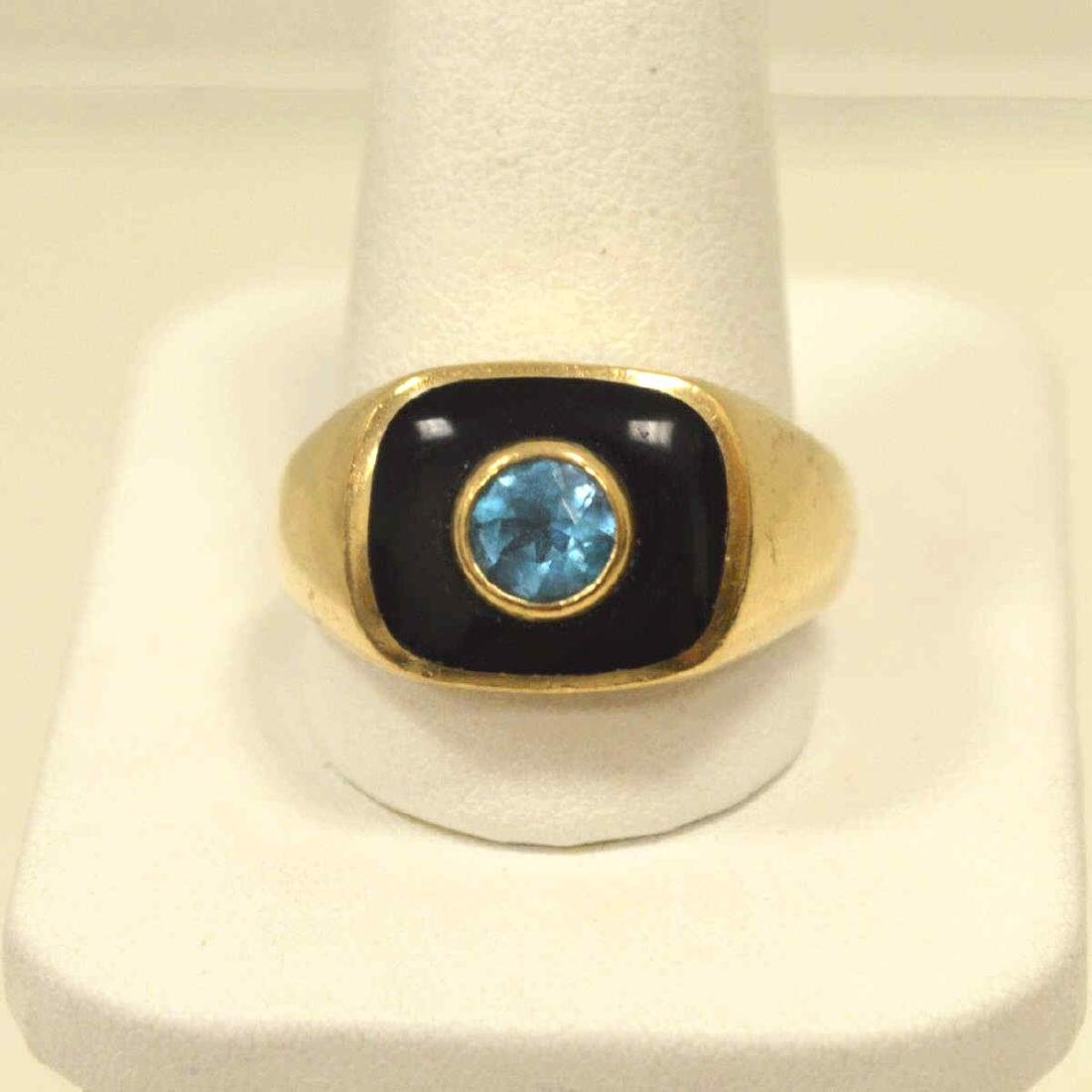 10kt yellow gold onyx and blue topaz ring