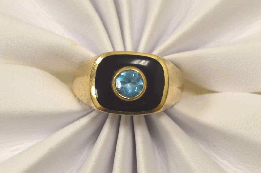 10kt yellow gold onyx and blue topaz ring - 5
