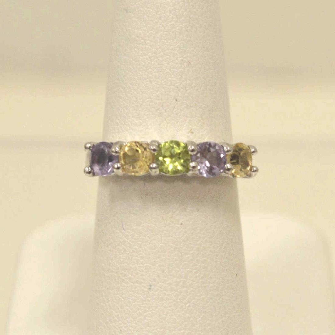Sterling Amethyst, Peridot, and Citrine Band