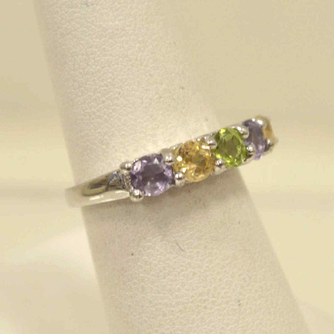 Sterling Amethyst, Peridot, and Citrine Band - 2