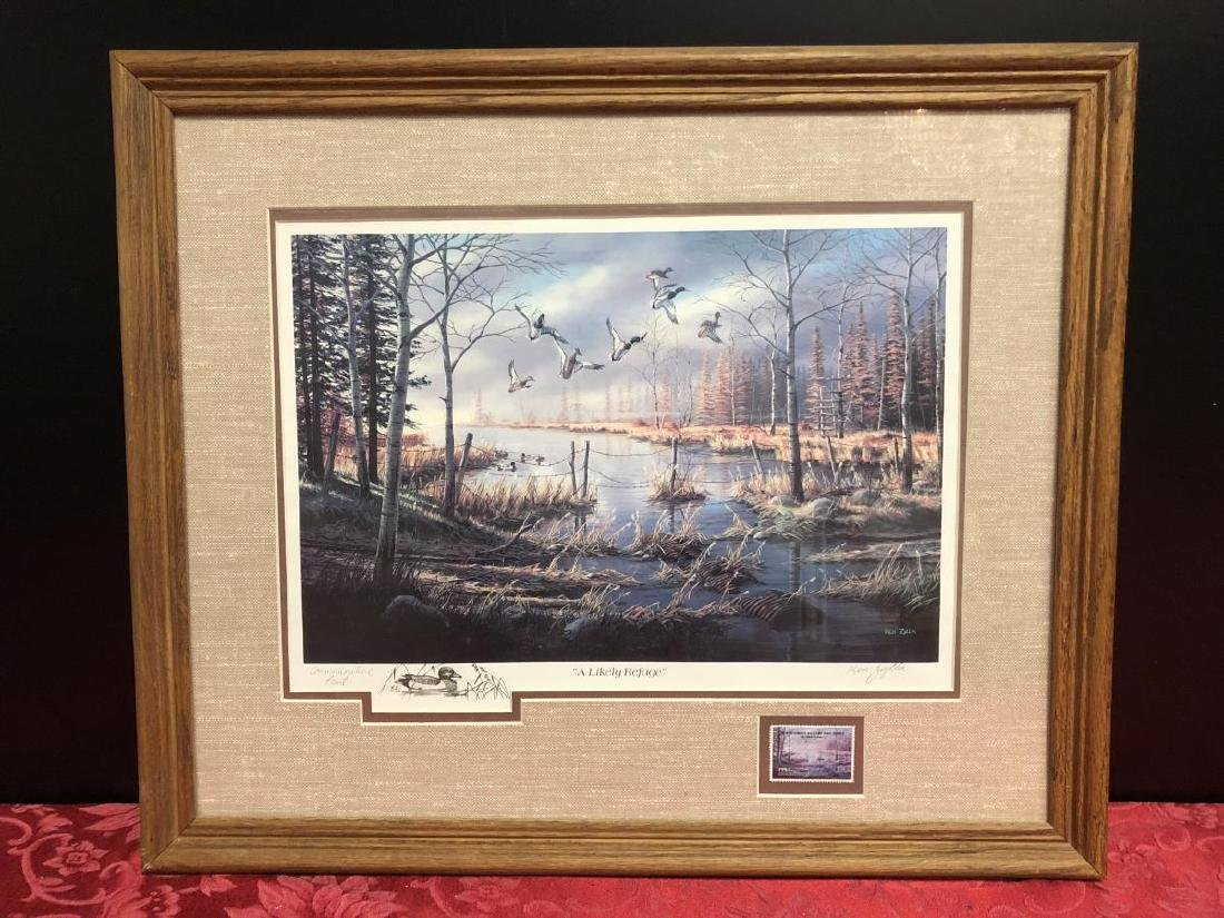 1984 Duck Stamp Print A LIKELY REFUGE by Ken Zylla