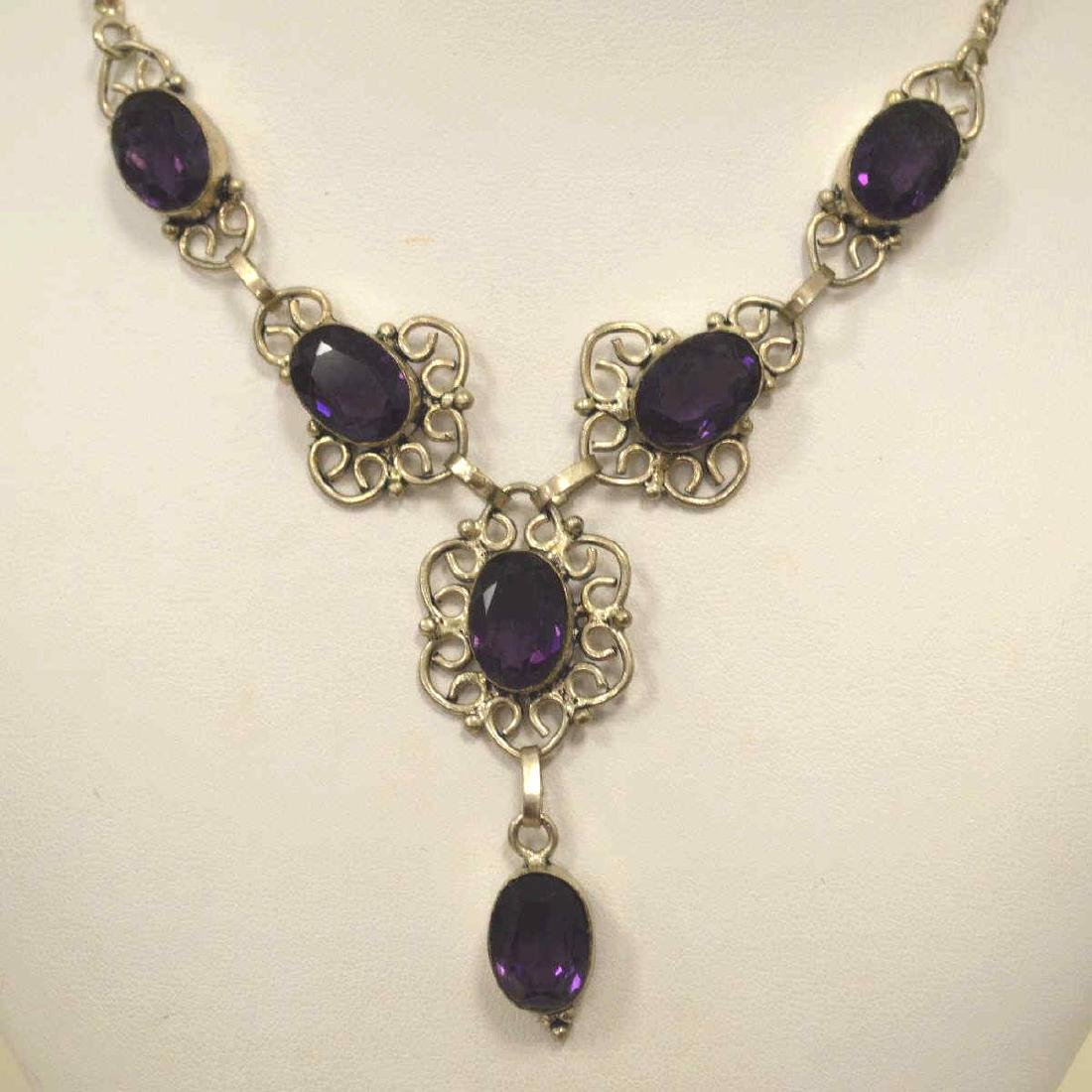 Sterling silver amethyst necklace - 2