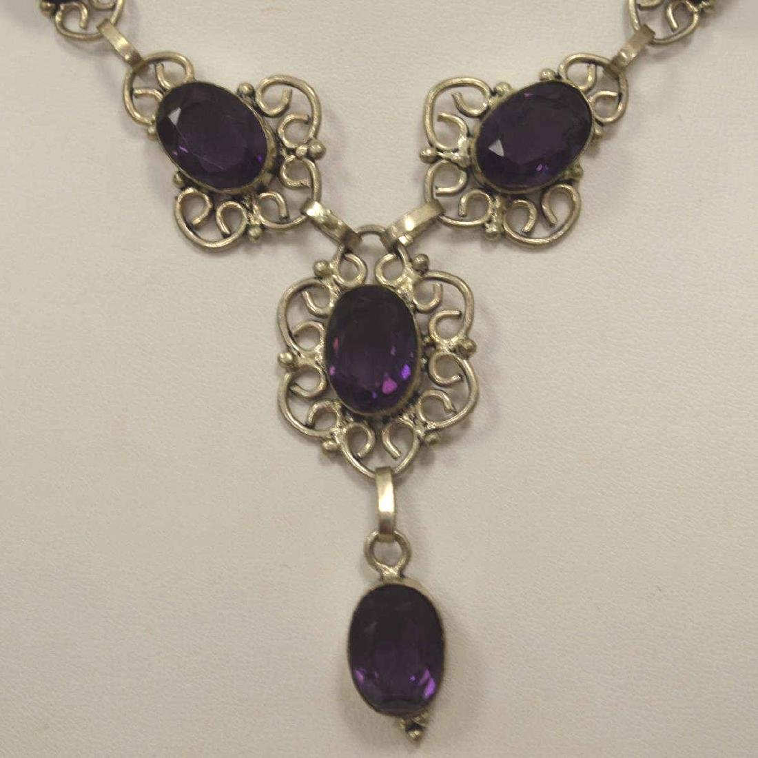Sterling silver amethyst necklace - 3