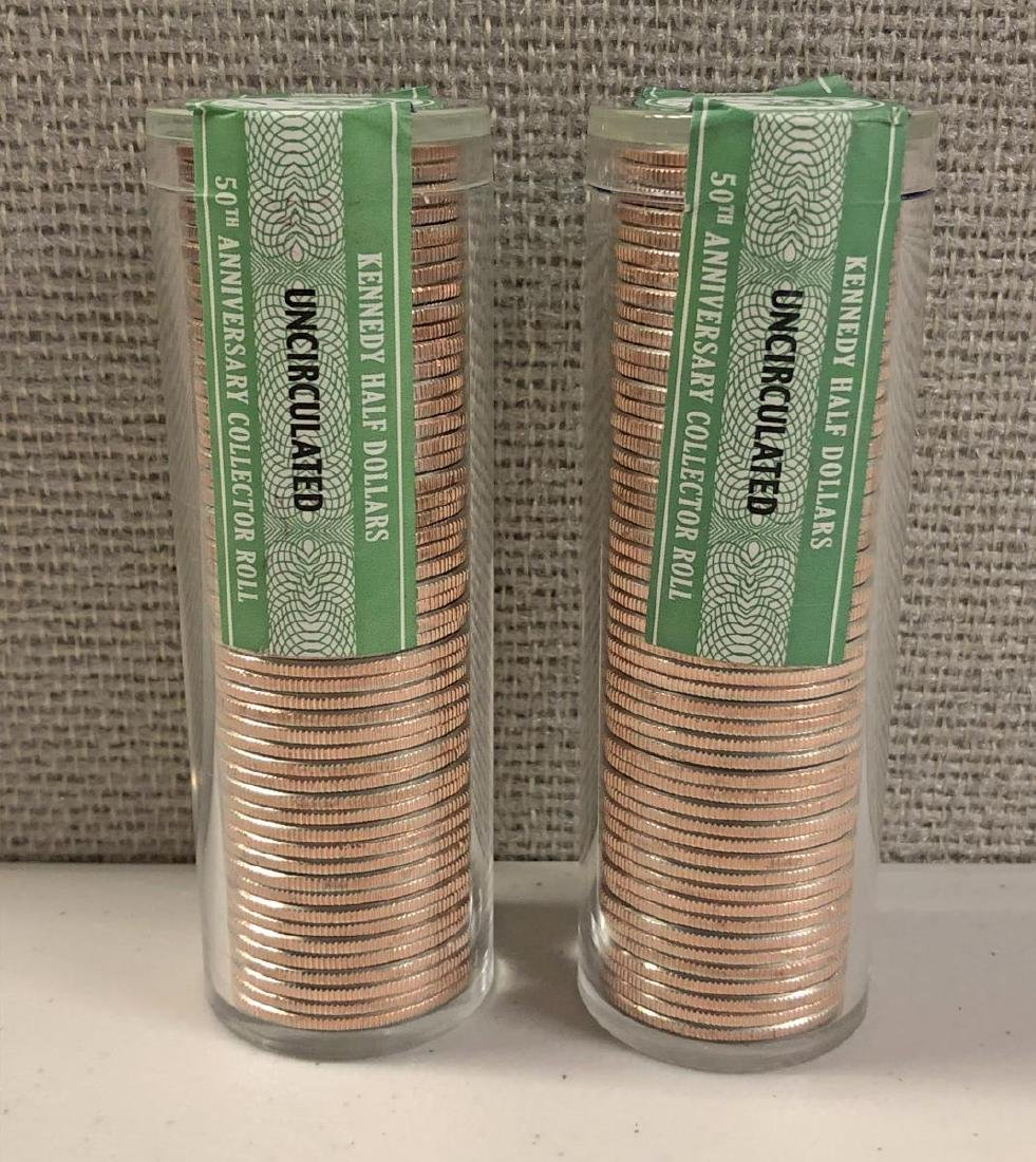 2013 & 2014 Uncirculated Kennedy Half Roll Pair