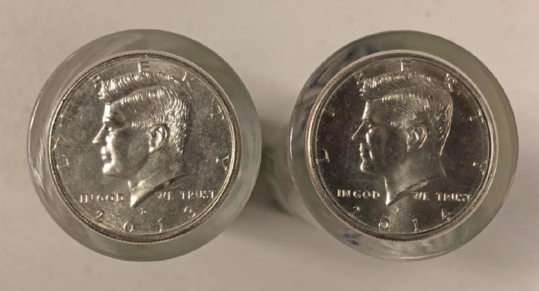 2013 & 2014 Uncirculated Kennedy Half Roll Pair - 2