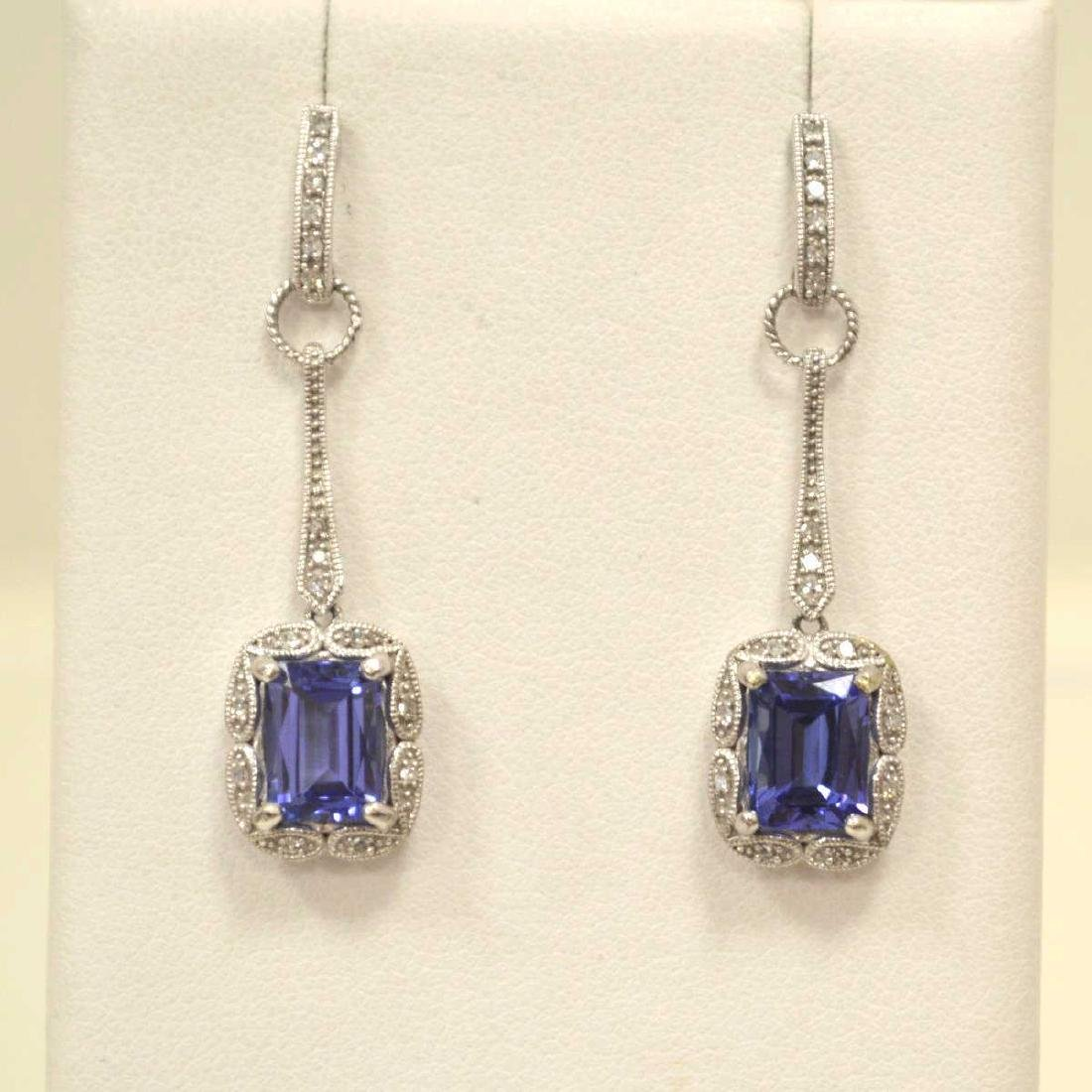 10kt white gold tanzanite and diamond earrings