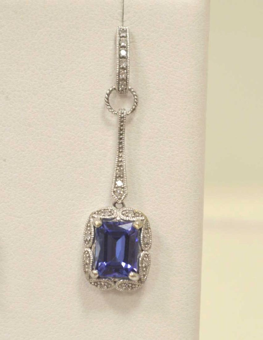 10kt white gold tanzanite and diamond earrings - 2