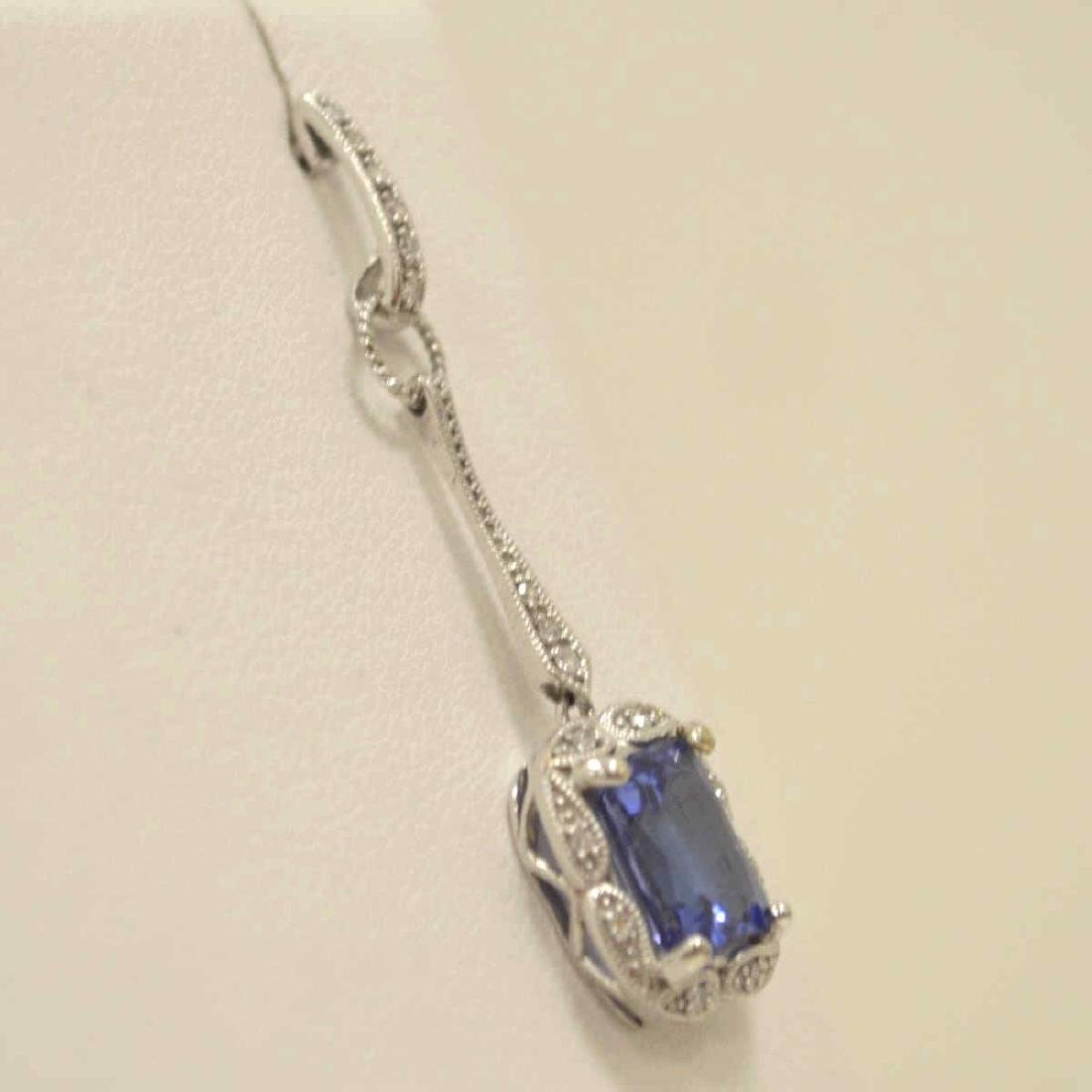 10kt white gold tanzanite and diamond earrings - 3