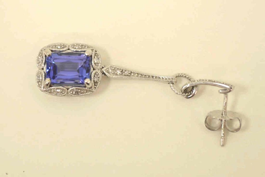 10kt white gold tanzanite and diamond earrings - 4