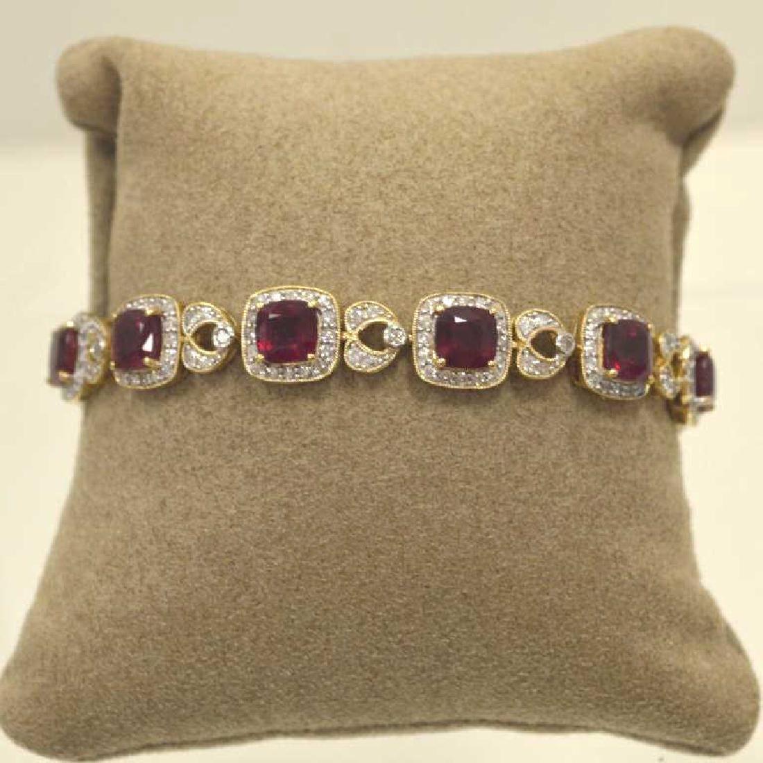 14kt yellow gold ruby and diamond bracelet