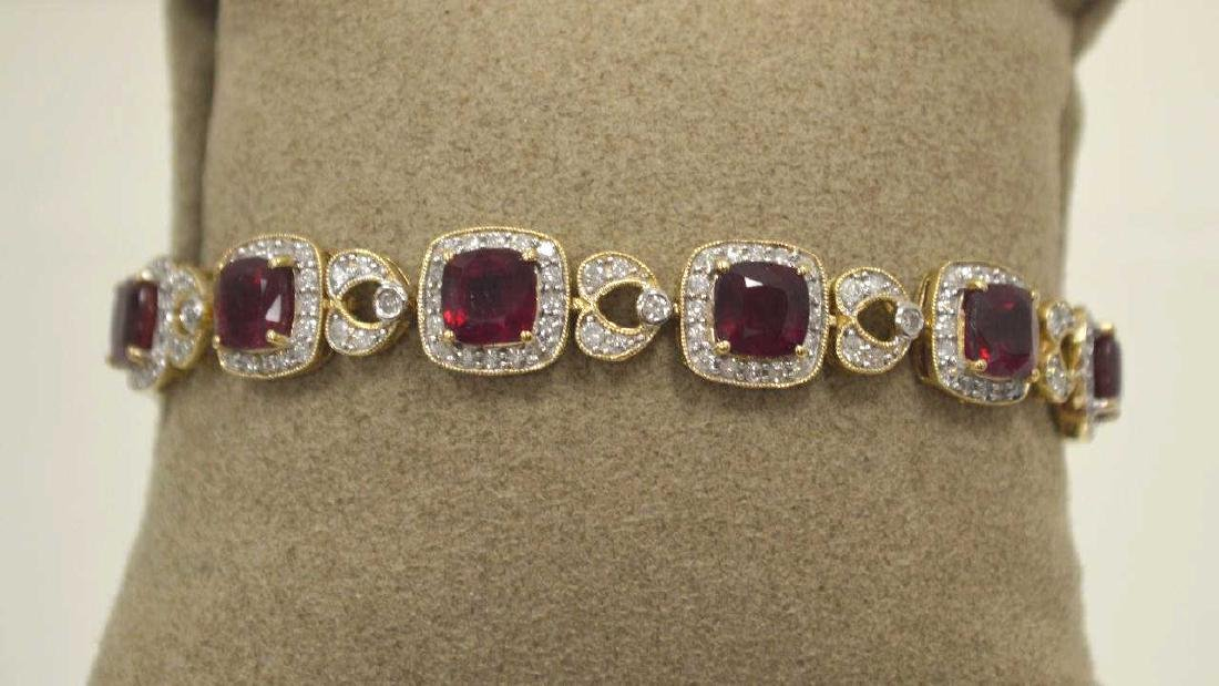 14kt yellow gold ruby and diamond bracelet - 2