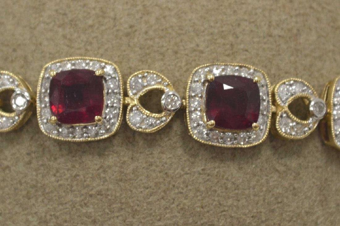 14kt yellow gold ruby and diamond bracelet - 3
