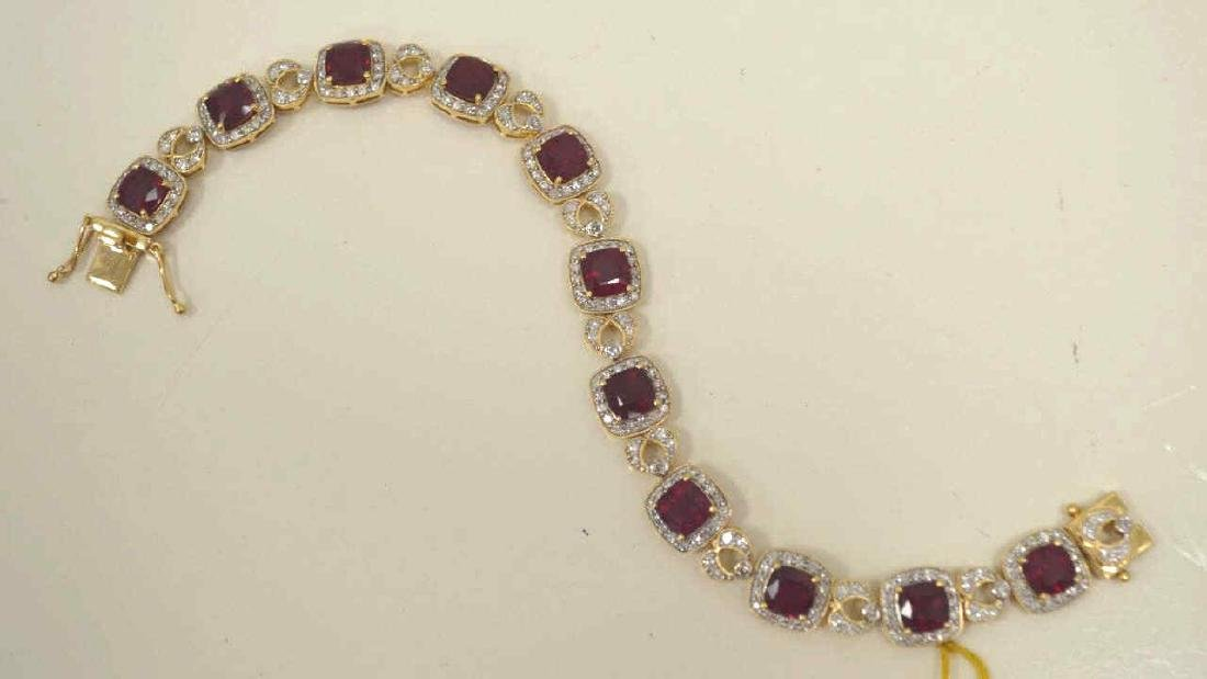 14kt yellow gold ruby and diamond bracelet - 4