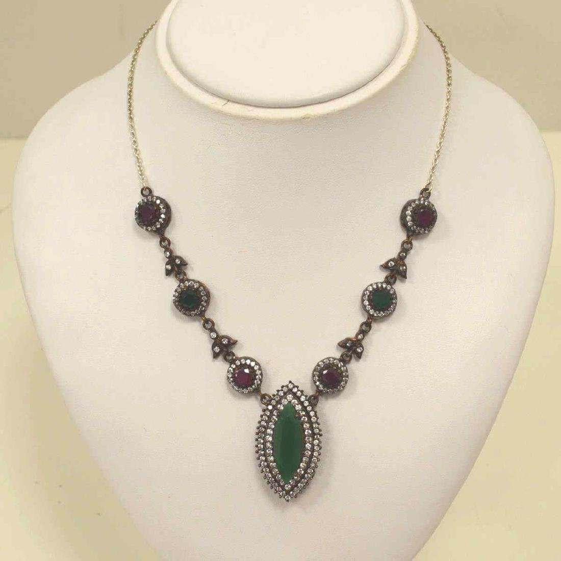 Sterling silver green and red stone necklace
