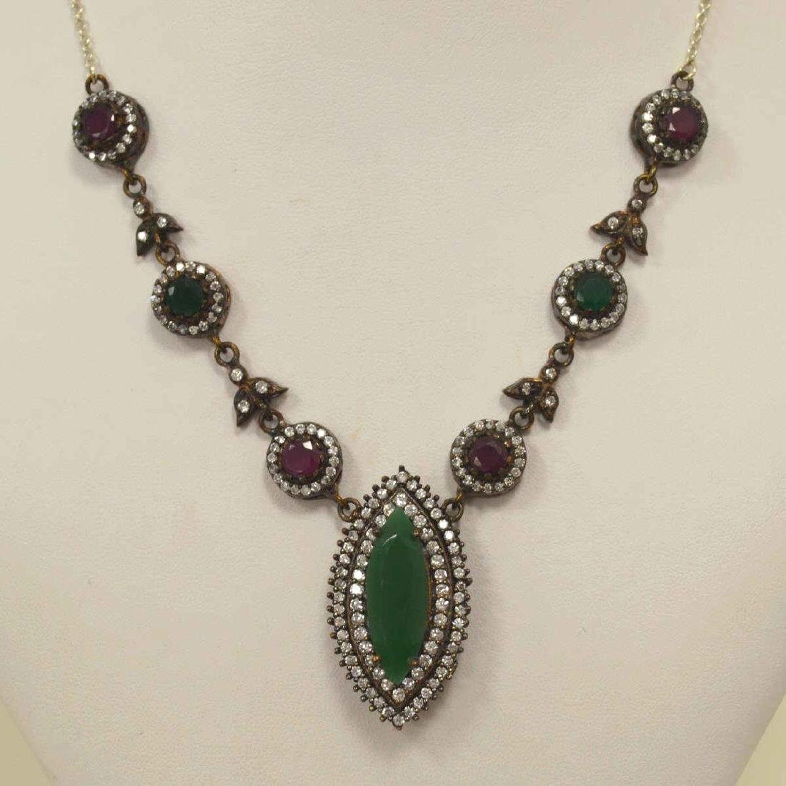 Sterling silver green and red stone necklace - 2