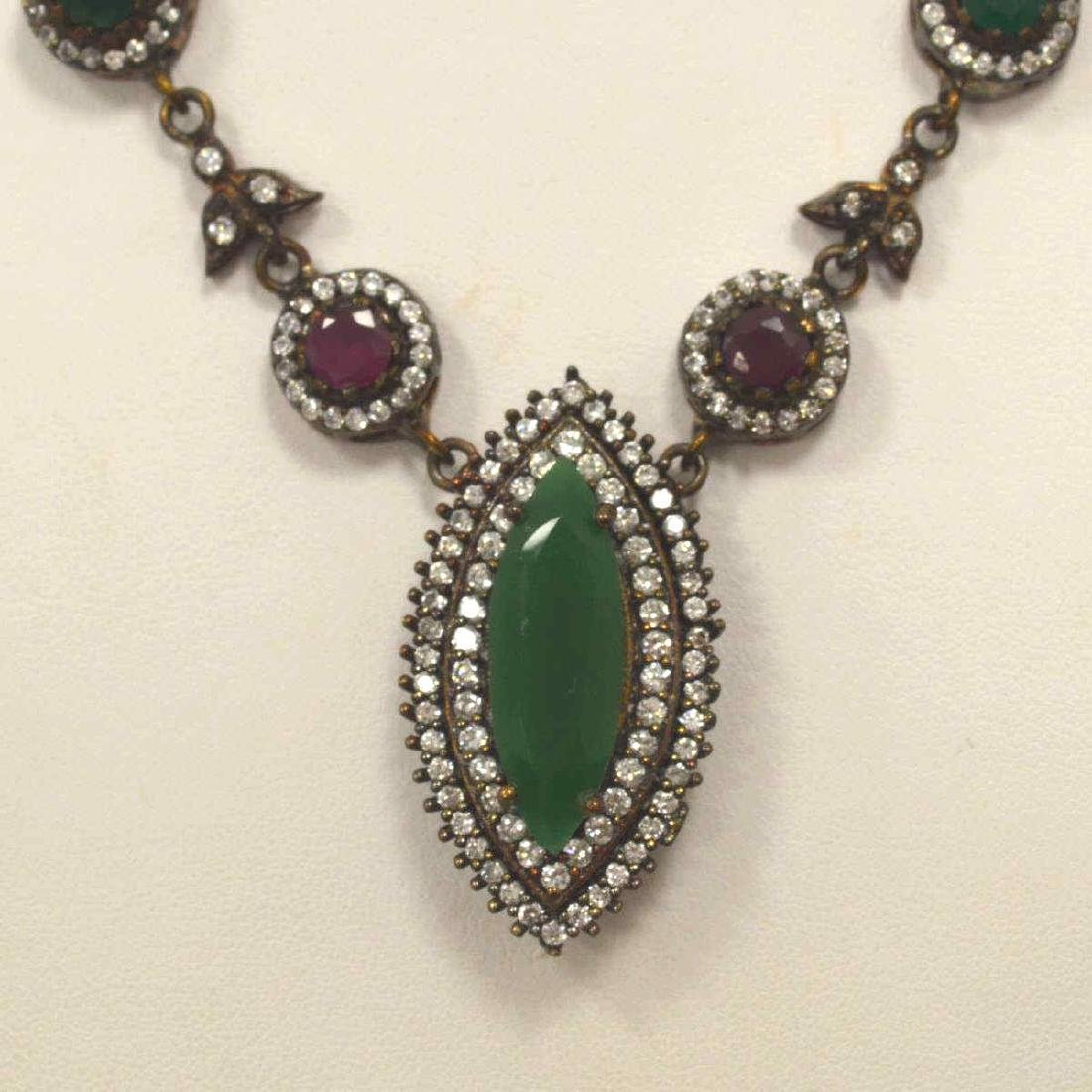 Sterling silver green and red stone necklace - 3
