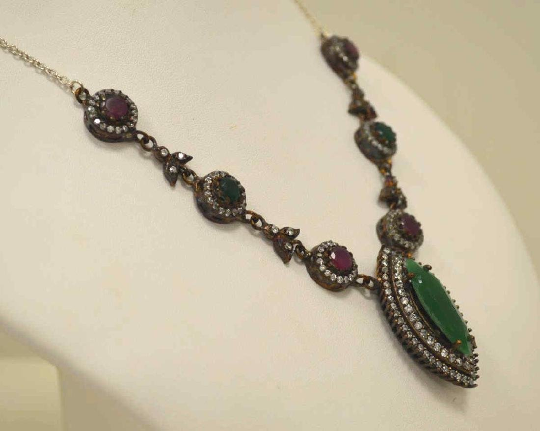 Sterling silver green and red stone necklace - 4
