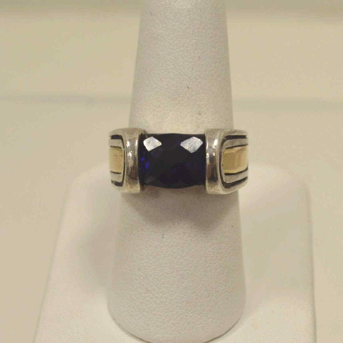 Sterling Silver and 18kt blue stone ring