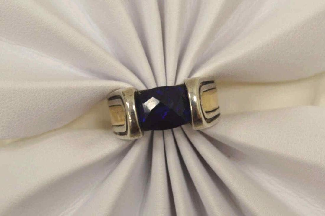 Sterling Silver and 18kt blue stone ring - 5