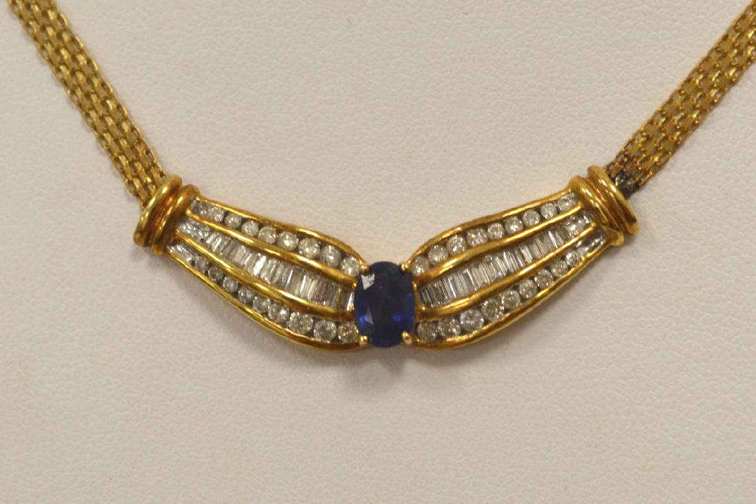 18kt yellow gold sapphire and diamond necklace - 2