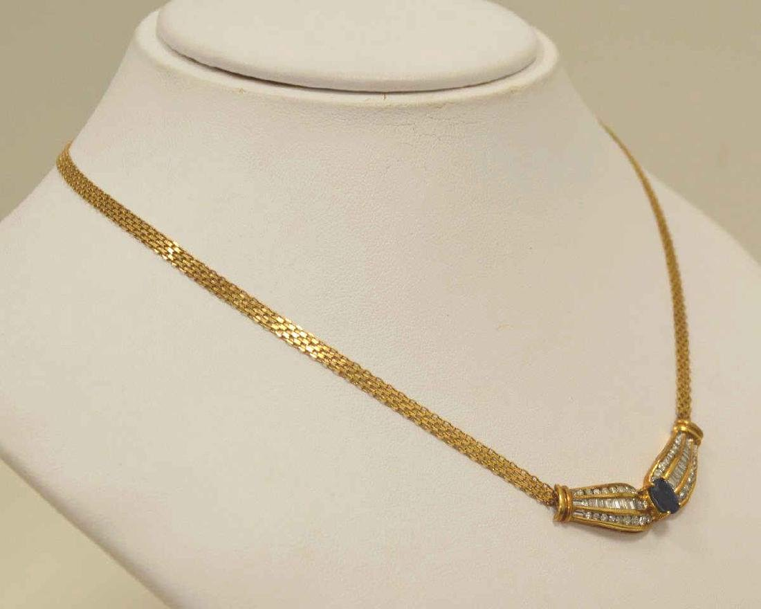 18kt yellow gold sapphire and diamond necklace - 3