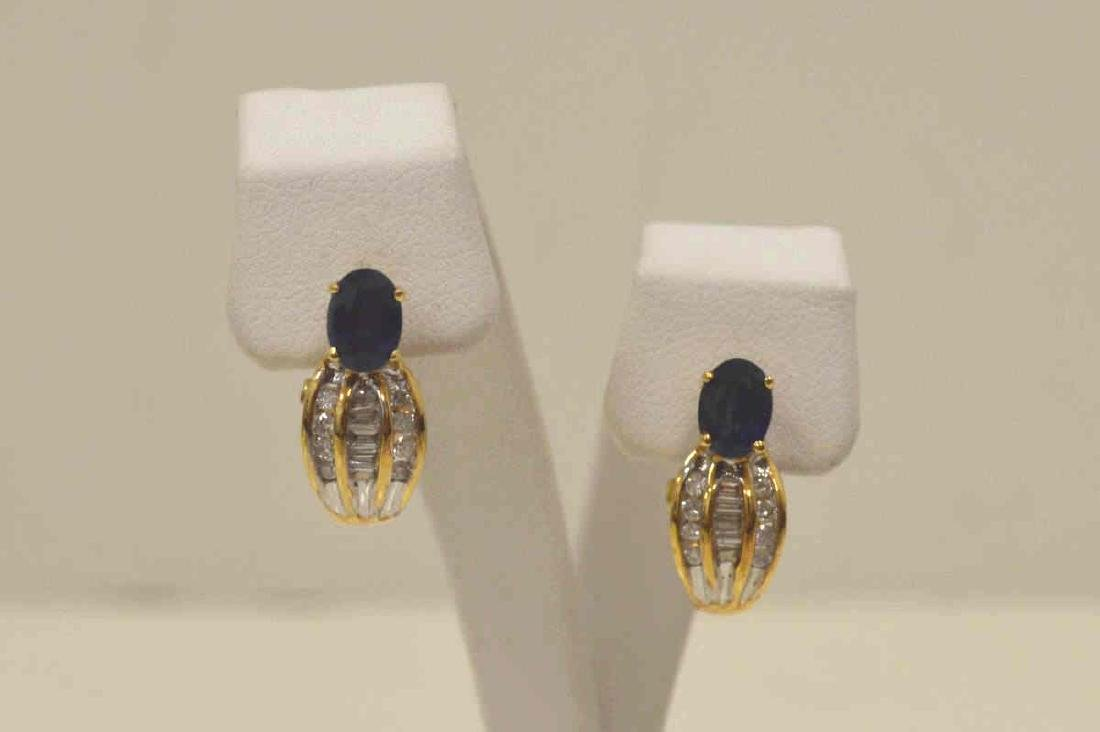 18kt yellow gold sapphire and diamond earrings - 2