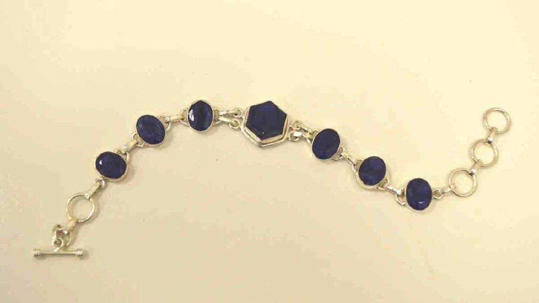 Sterling silver opaque sapphire bracelet