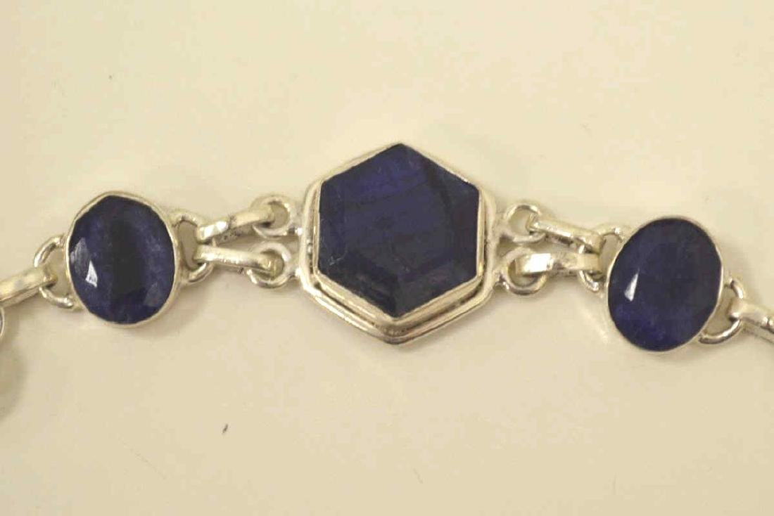 Sterling silver opaque sapphire bracelet - 2