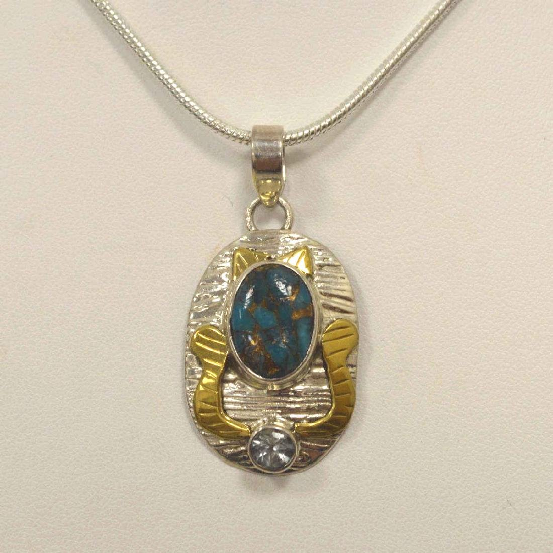 Sterling Silver Turquoise and Topaz pendant