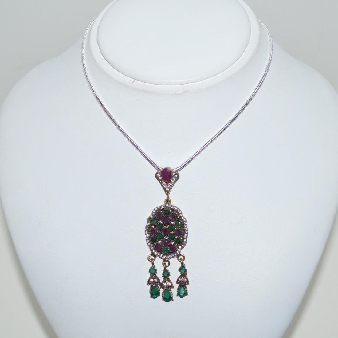 Sterling Siler Opaque ruby and emerald necklace