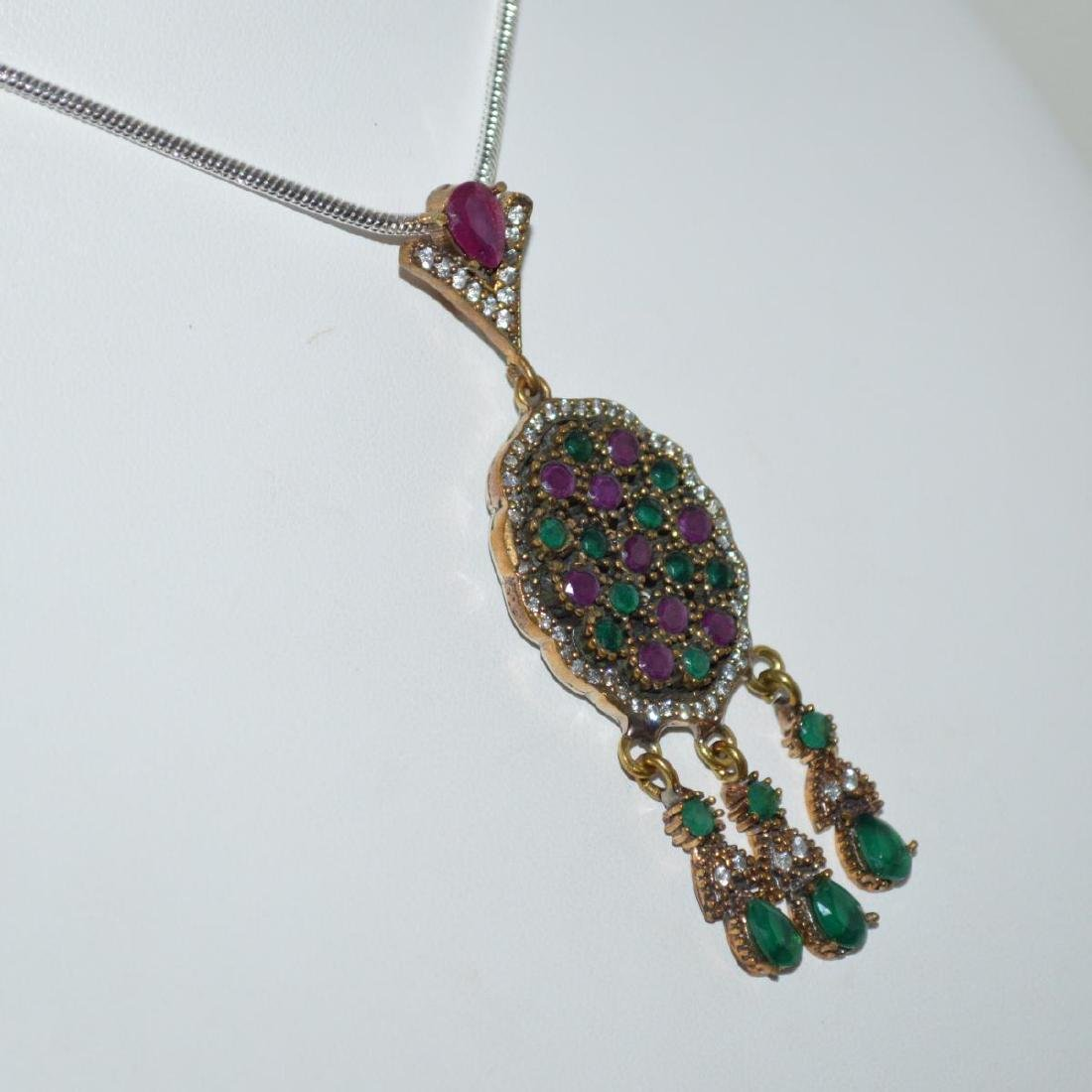 Sterling Siler Opaque ruby and emerald necklace - 2