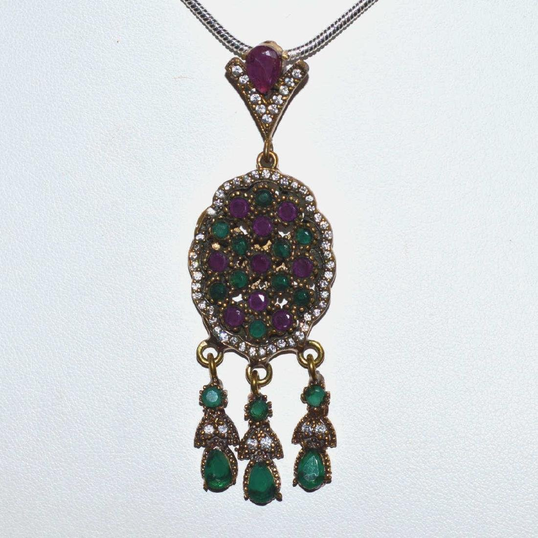 Sterling Siler Opaque ruby and emerald necklace - 3