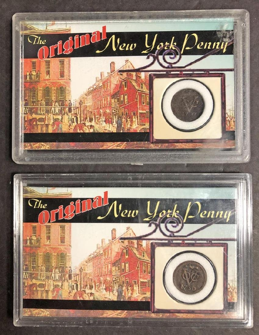 """1737 & 1750 Dutch Duit Coins """"New York Penny"""""""