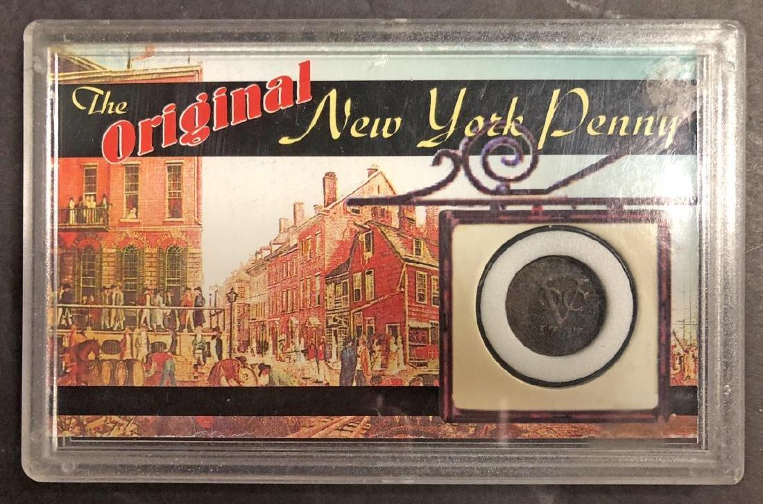"""1737 & 1750 Dutch Duit Coins """"New York Penny"""" - 2"""