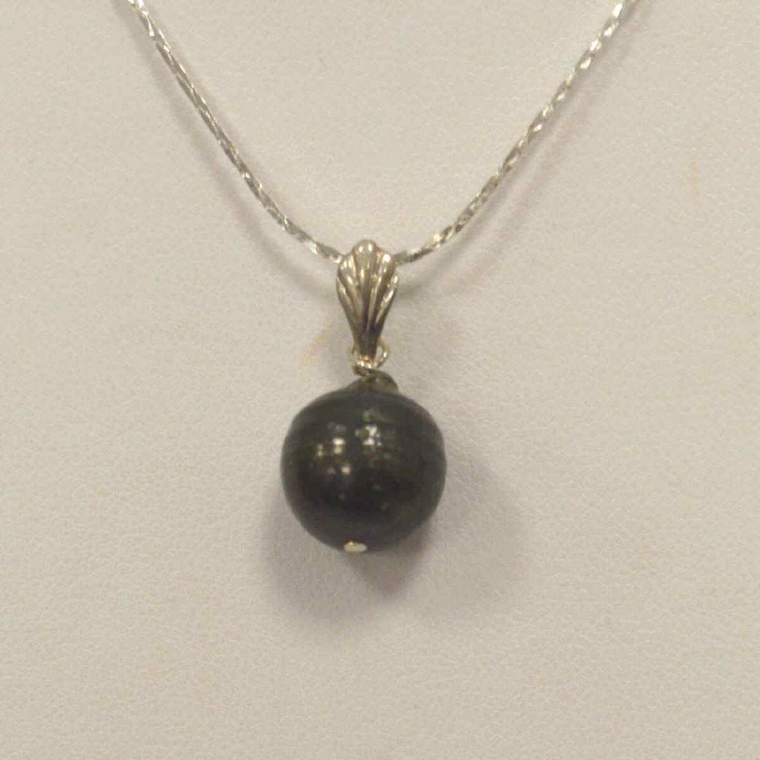 Sterling Silver Black South Sea Pearl Pendant - 2