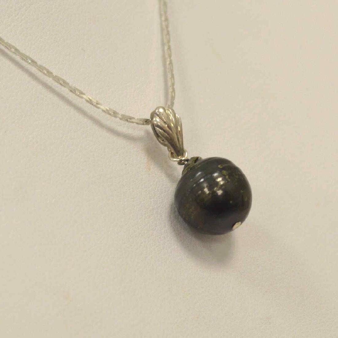 Sterling Silver Black South Sea Pearl Pendant - 3