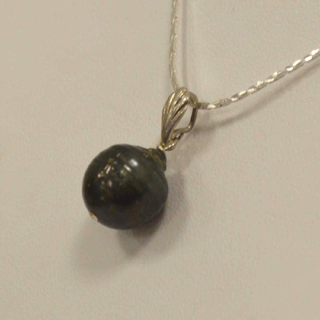 Sterling Silver Black South Sea Pearl Pendant - 4