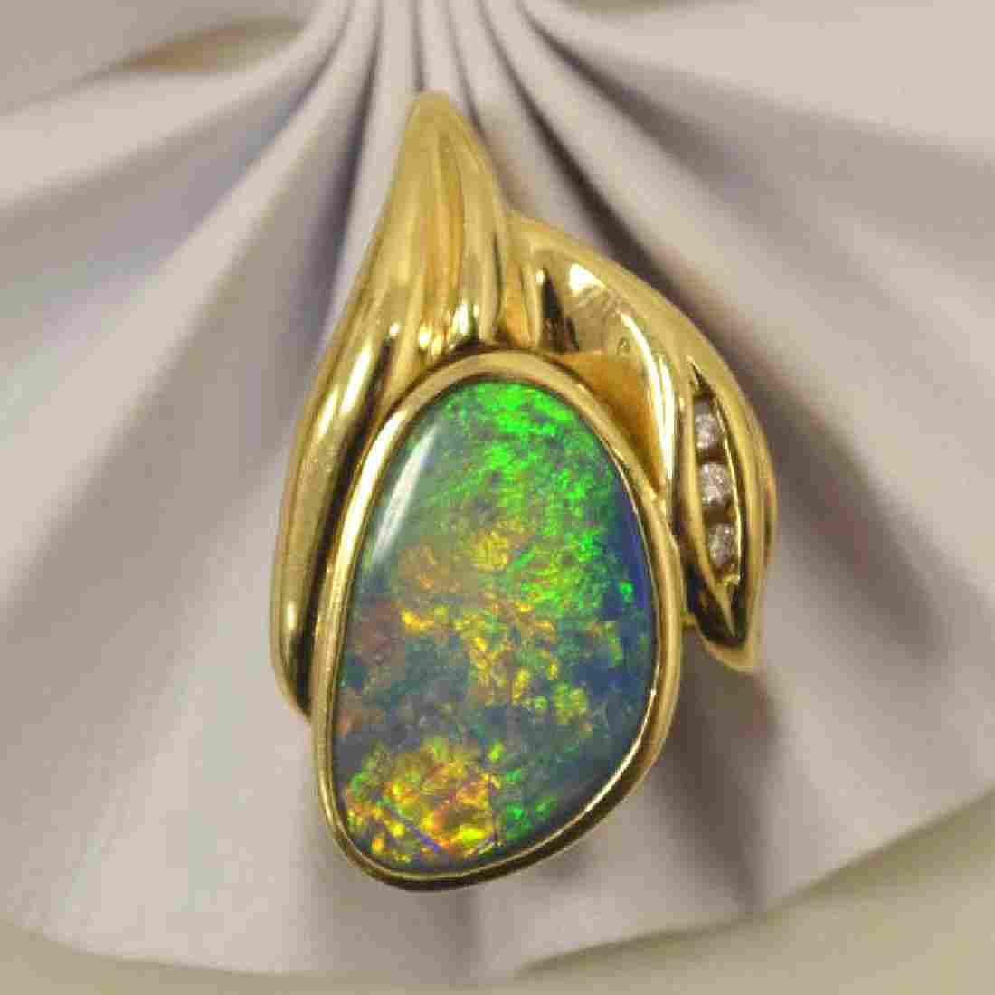 14kt yellow gold opal and diamond slide pendant