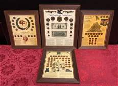 Lot of 4 Framed Historical Coin  Currency Items